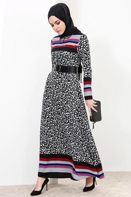 Refka Siyah Doğal Kumaşlı Düğme Detaylı Elbise