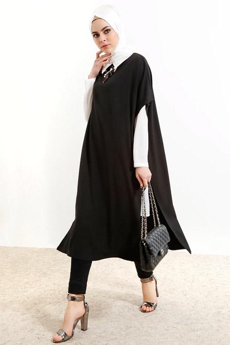 Refka Siyah Ekru Gömlek Tunik Takım