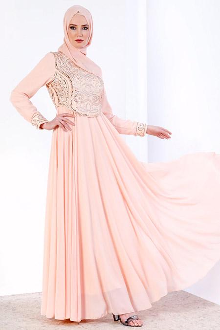 Refka Somon Taşlı Şifon Abiye Elbise