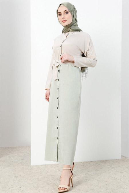 Refka Yeşil Boydan Düğmeli Elbise