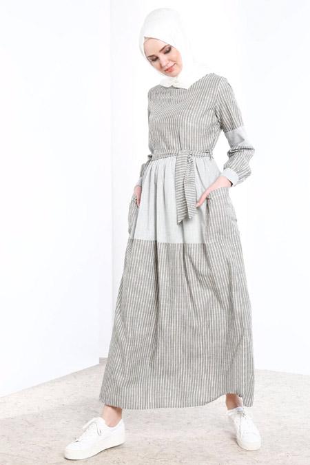 Refka Yeşil Çizgili Elbise
