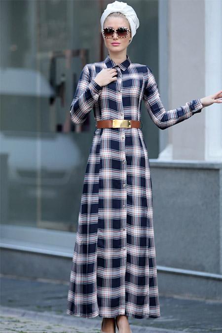 Selma Sarı Design Lacivert Kemerli Ekose Elbise