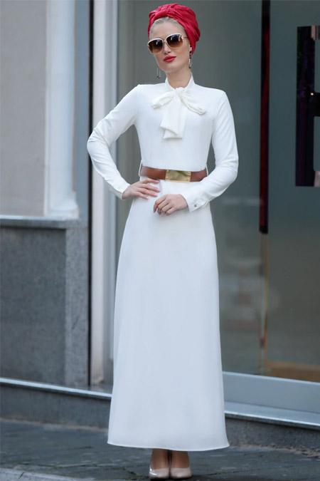 Selma Sarı Design Beyaz Fiyonklu Prenses Elbise