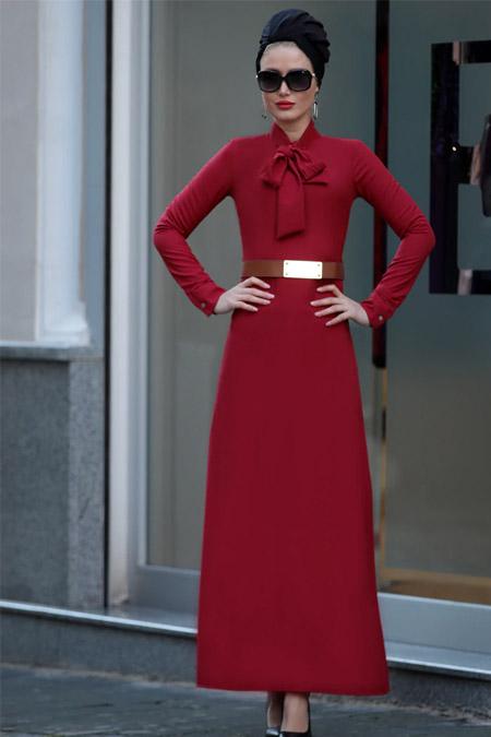 Selma Sarı Design Bordo Fiyonklu Prenses Elbise