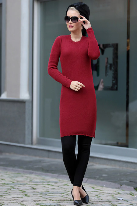 Selma Sarı Design Bordo Lady Tunik