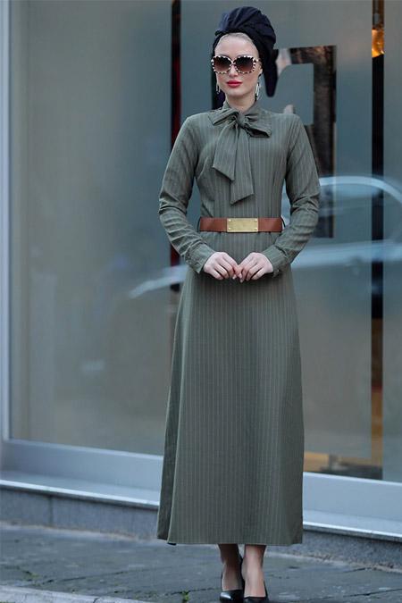 Selma Sarı Design Haki Fiyonklu Prenses Elbise
