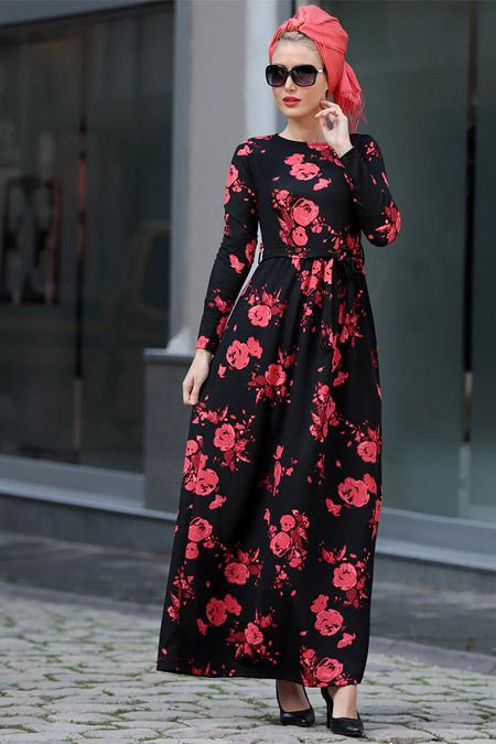 Selma Sarı Design Kırmızı Gonca Elbise