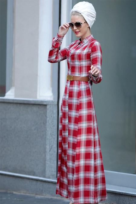 Selma Sarı Design Krmızı Kemerli Ekose Elbise
