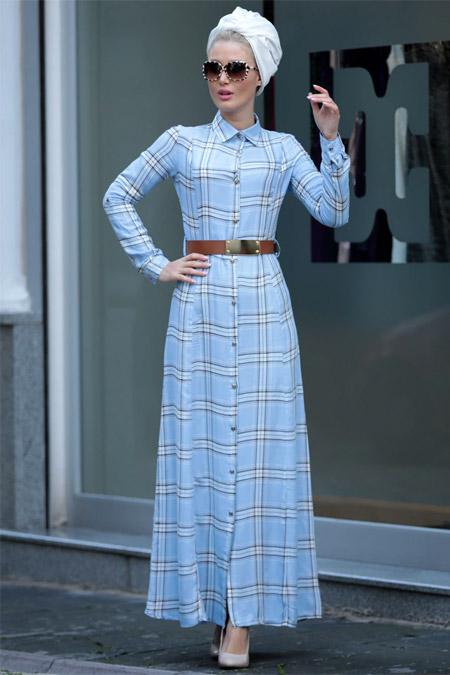 Selma Sarı Design Mavi Kemerli Ekose Elbise