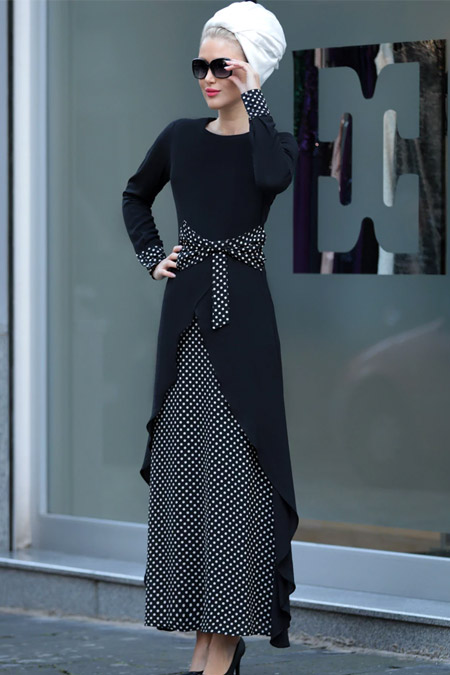 Selma Sarı Design Siyah Beyaz Fiyonk Bel Miray Elbise