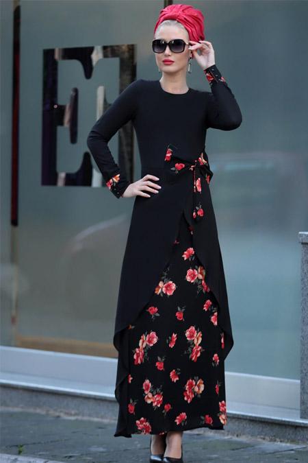 Selma Sarı Design Siyah Kırmızı Fiyonk Bel Miray Elbise