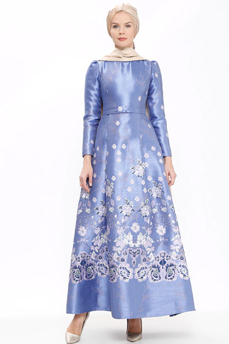 SomFashion Mavi Lila Lara Abiye Elbise