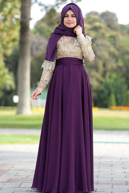 SomFashion Mürdüm Yakut Abiye Elbise