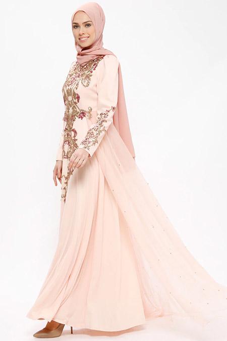 SomFashion Pudra Pırıl Abiye Elbise