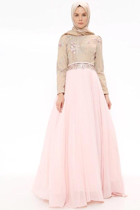 SomFashion Pudra Yonca Abiye Elbise