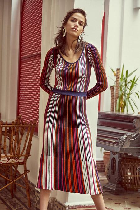 TRENDYOLMİLLA Çok Renkli Simli Triko Elbise