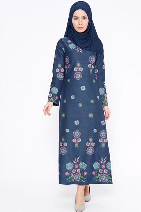 Tuncay Lacivert Fuşya Çiçek Desenli Elbise