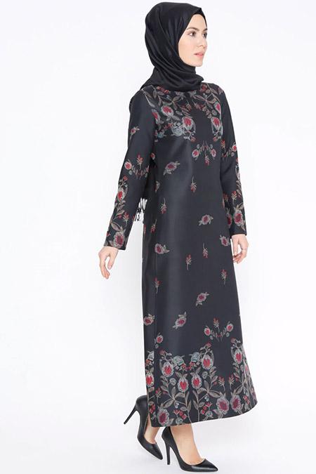 Tuncay Siyah Bordo Çiçek Desenli Elbise