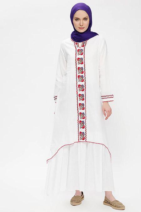 Çıkrıkçı Beyaz Şile Bezi Nakışlı Elbise
