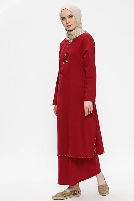 Çıkrıkçı Bordo Şile Bezi Boncuk İşlemeli Elbise