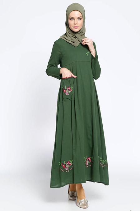 ad89cf98903b9 Çıkrıkçı Haki İşlemeli Şile Bezi Elbise Online Satış, İndirimli Satın Al