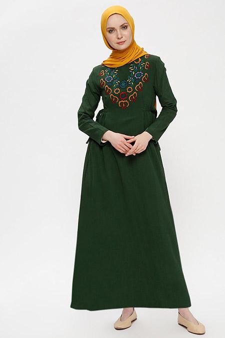 Çıkrıkçı Haki Şile Bezi Nakışlı Elbise