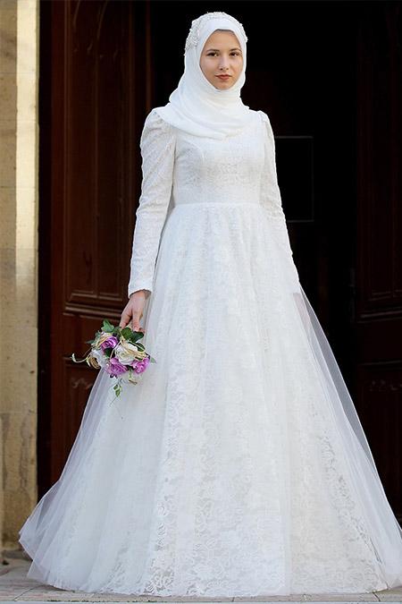 AGONYA MODA Kırık Beyaz İnci Abiye Elbise