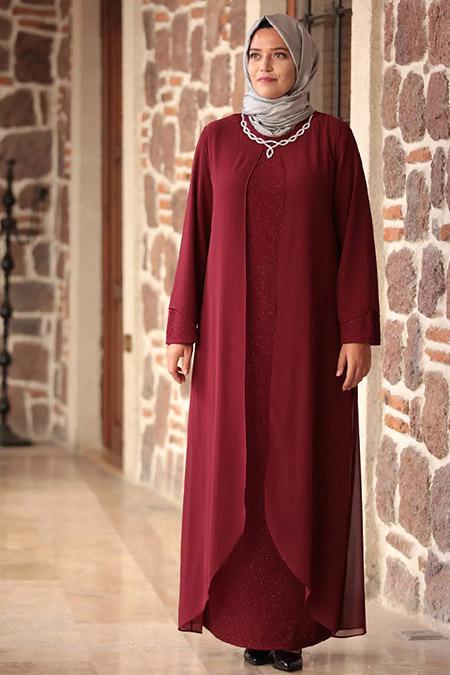 Amine Hüma Bordo Parıltı Abiye Elbise
