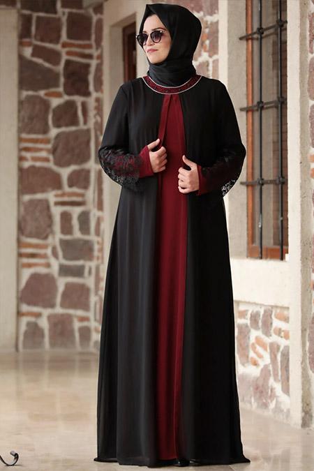 Amine Hüma Bordo Siyah Kolu Dantelli Elbise