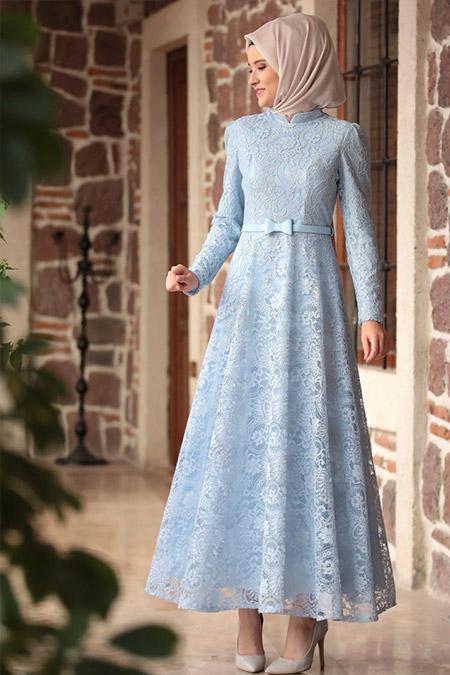 Amine Hüma Buz Mavisi Melek Elbise