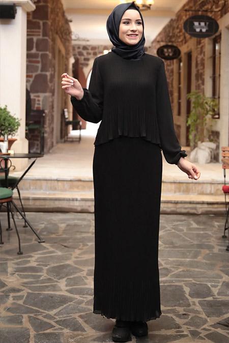 Amine Hüma Siyah Şifon Piliseli Elbise