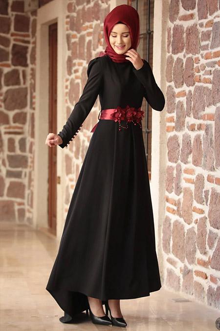 Amine Hüma Siyah Kuyruklu Selen Abiye Elbise