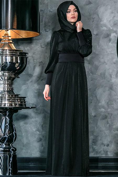 An-Nahar Siyah Sedef Abiye Elbise