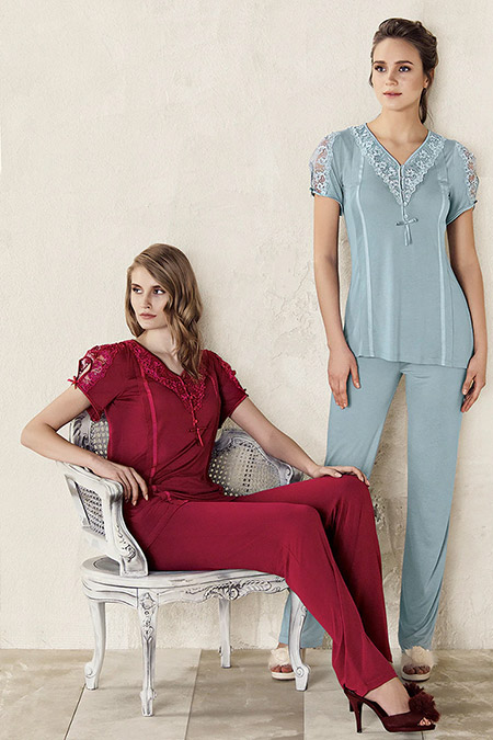 Artış Collection Bordo Dantel Detaylı Pijama