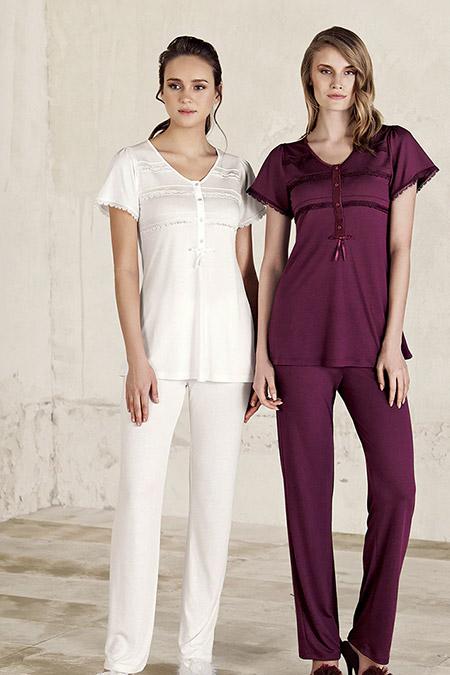 Artış Collection Ekru Dantel Detaylı Pijama