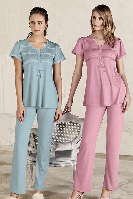 Artış Collection Gül Kurusu Dantel Detaylı Pijama