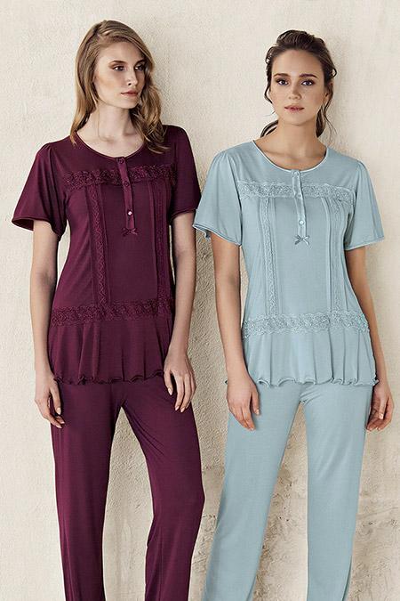 Artış Collection Mürdüm Dantel Detaylı Pijama