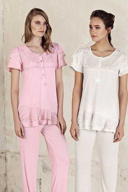 Artış Collection Pudra Lezli Pijama Takım