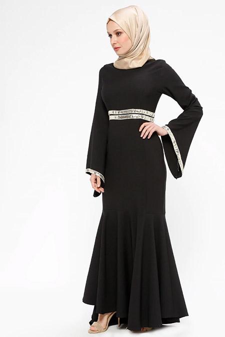 BÜRÜN Siyah Payet Detaylı Abiye Elbise