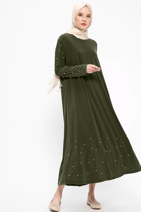 Beha Tesettür Haki İnci Detaylı Elbise