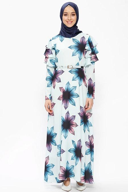 Beha Tesettür Mint Yeşili Volan Detaylı Çiçek Desenli Elbise