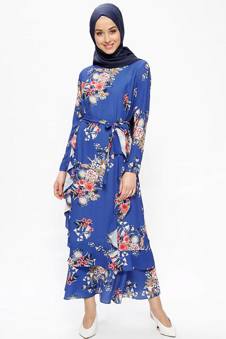 Beha Tesettür Saks Volan Detaylı Çiçek Desenli Elbise