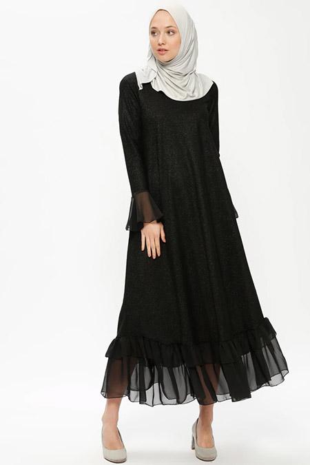 Beha Tesettür Siyah Volan Detaylı Simli Elbise