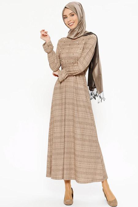 Beha Tesettür Vizon İncili Elbise