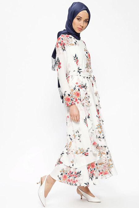 Beha Tesettür Vizon Volan Detaylı Çiçek Desenli Elbise