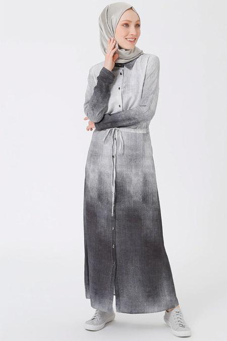 Benin Gri Boydan Düğmeli Degradeli Elbise