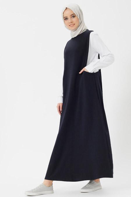 Benin Lacivert Ekru Gömlekli Jile Elbise
