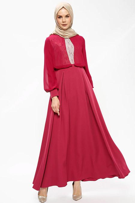 Butik Neşe Mercan Dantelli Şifon Detaylı Abiye Elbise