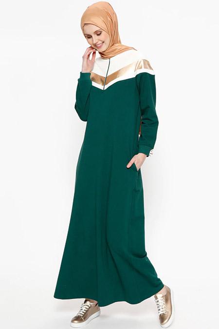 Bwest Zümrüt Cepli Garnili Elbise