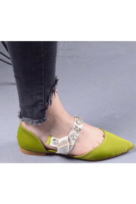 Comert Ayakkabı Yeşil Saten Ayakkabı